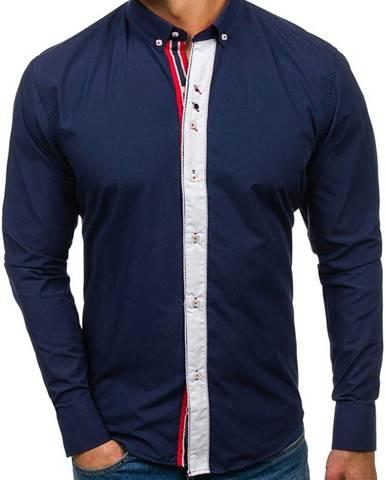 Tmavomodrá pánska elegantná košeľa s dlhými rukávmi