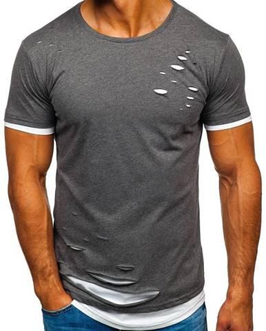 Grafitové pánske tričko bez potlače