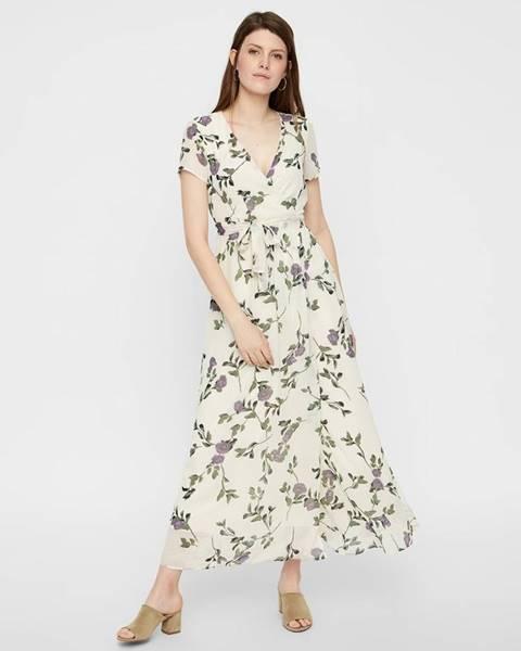 Vero Moda  Krémové kvetované maxišaty s prekladanou sukňou VERO MODA Amsterdam