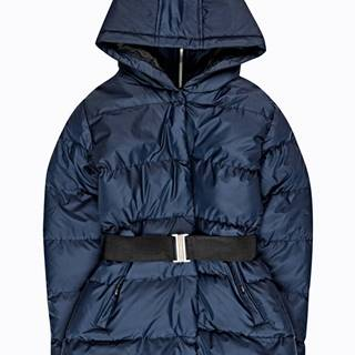 Prešívaná vatovaná bunda s kapucňou a s elastických opaskom