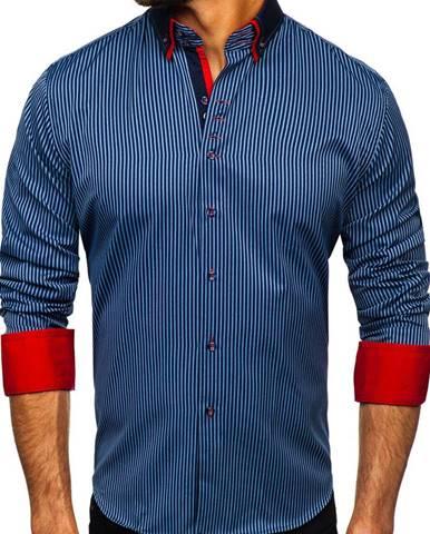 Tmavomodrá pánska prúžkovaná košeľa s dlhými rukávmi