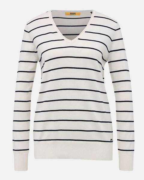 zoot baseline Biely dámsky pruhovaný basic sveter ZOOT Baseline Lea