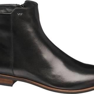 Wojas Wojas - Čierne kožené členkové čižmy Wojas