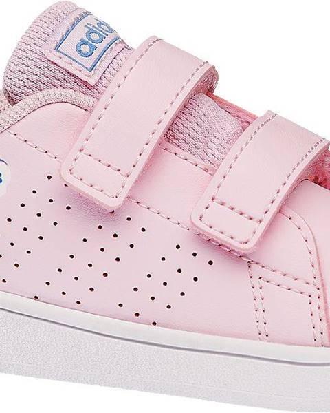 adidas  adidas - Ružové tenisky na suchý zips Adidas Advantage Inf