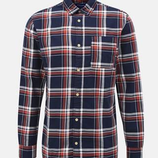 Tmavomodrá kockovaná košeľa Jack & Jones Jeff