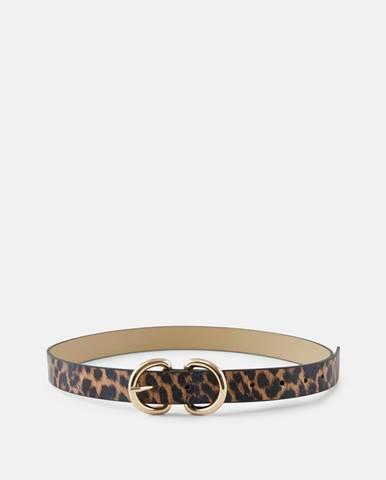 Čierno-hnedý opasok s leopardím vzorom Pieces Masja