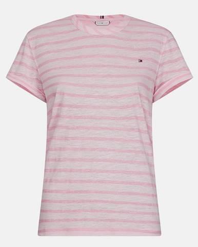 Ružové dámske pruhované ľanové tričko Tommy Hilfiger